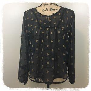 Lucy Brand Black/Gold Print Sheer Boho Blouse M